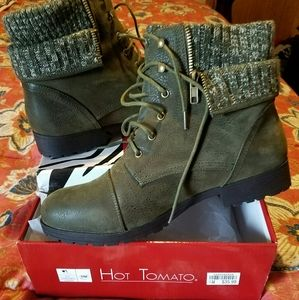 Olive Moleskin Boots w/Ribbed Knit Sweater Upper